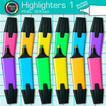 Rainbow Highlighter Clip Art {Back to School Supplies for Classroom Decor} 1