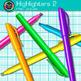 Rainbow Highlighter Clip Art {Back to School Supplies for Classroom Decor} 2