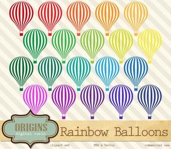Rainbow Hot Air Balloons Vector Clipart