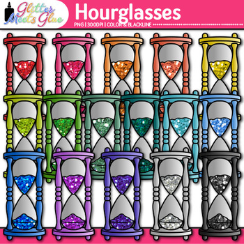 Rainbow Hourglass Clip Art {Measurement Tools for Elapsed Time Math Resources}