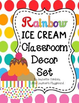 Rainbow Ice Cream Classroom Decor Set