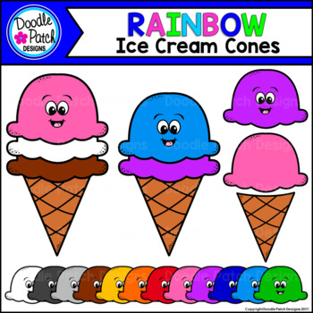 Rainbow Ice Cream Cones Clip Art Set - Doodle Patch Designs