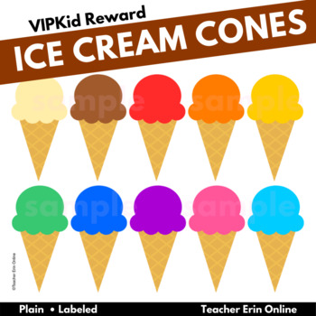 Rainbow Ice Cream Cones - Clipart - PDF Print Ready- ESL Reward- Classroom Decor