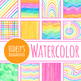 Rainbow Illusions Hand Painted Watercolor Backgrounds / Digital Papers Clip Art