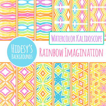Rainbow Imagination Kalidoscope Digital Papers / Backgrounds Clip Art Set