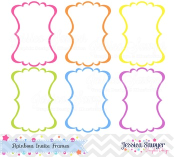 Rainbow Invite Labels for Rainbow Party, Commercial use, Personal Use