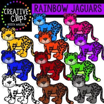 Rainbow Jaguars {Creative Clips Digital Clipart}