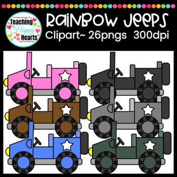 Rainbow Jeeps Clipart