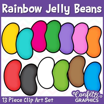 Rainbow Jelly Bean Clipart Set 13 Piece Easter Counting Confetti Graphics