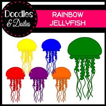Rainbow Jellyfish {Doodles and Doilies Clipart}