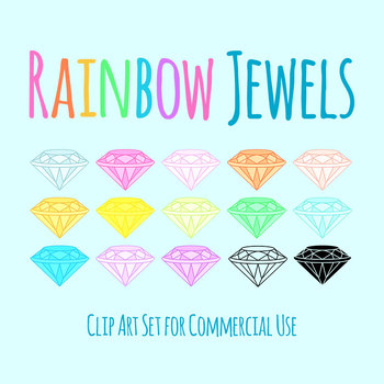 Rainbow Jewels / Diamonds / Gems Clip Art Set for Commercial Use