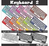 Rainbow Keyboard White Keys Clip Art
