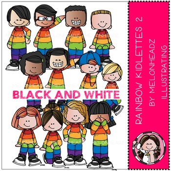Rainbow Kidlettes 2 by Melonheadz BLACK AND WHITE