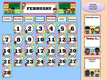 Rainbow Kids Calendar - Month & Days of the Week Headers, Number Squares, Kids