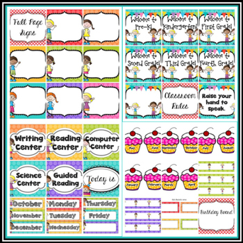 Bright Colors Rainbow Kids Classroom Decor - EDITABLE