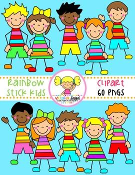 Rainbow Kids {Stick Kids Clipart}