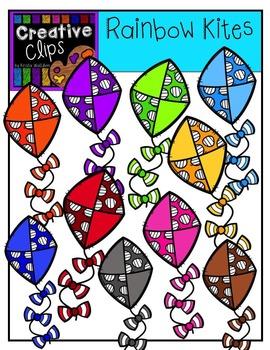 Rainbow Kites {Creative Clips Digital Clipart}