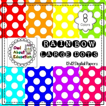 Rainbow Large Dots - Digital Paper Pack