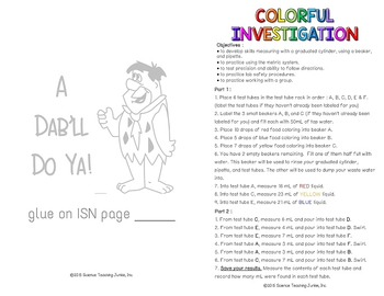 Colorful Investigation - Great for Back to School or First Lab of the Year