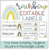 Rainbow Labels | EDITABLE & 5 SIZES | Target Adhesive Rect