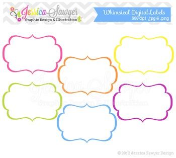 Rainbow Labels, Label clipart, Digital Tags, Digital Frames