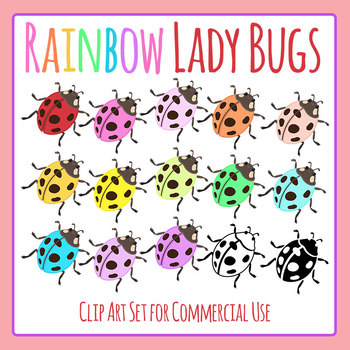 Rainbow Ladybugs Clip Art Set for Commercial Use