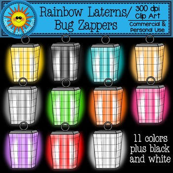 Rainbow Lanterns or Bug Zappers Clip Art