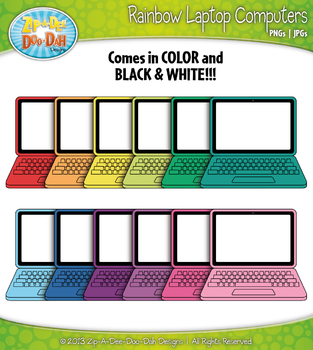 Rainbow Laptop Computer Clipart {Zip-A-Dee-Doo-Dah Designs}