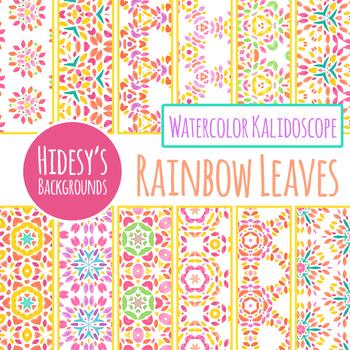 Rainbow Leaves Kalidoscope Watercolor Digital Paper / Backgrounds Clip Art