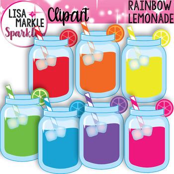 Rainbow Lemonade Mason Jar Clipart