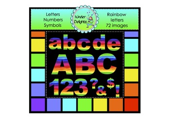 Rainbow Letters Numbers & Symbols Clipart