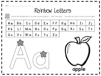 Rainbow Letters: Practice in Letter Formation and Identification