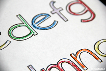 Rainbow Letters: Repetative Tracing Coloring Sheets (Lowercase)