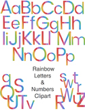 Rainbow Letters and Numbers Clipart