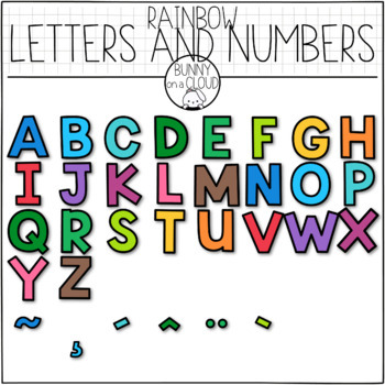 Rainbow Letters and Numbers (Moveable Clipart) by Bunny On A Cloud