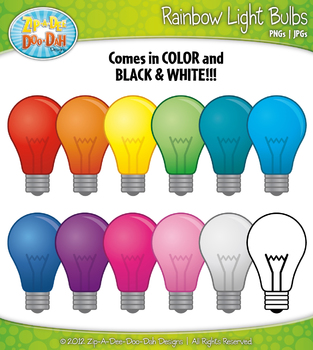 Rainbow Light Bulbs Clipart — Includes 12 Graphics!