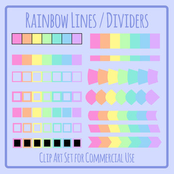 Rainbow Lines / Dividers Clip Art Set for Commercial Use
