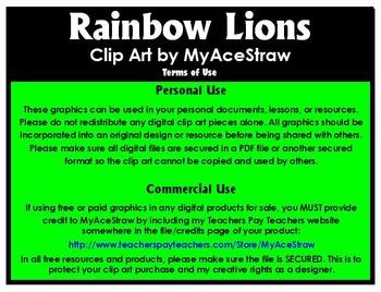 Rainbow Lions Clip Art