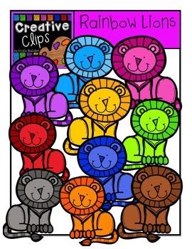 Rainbow Lions {Creative Clips Digital Clipart}