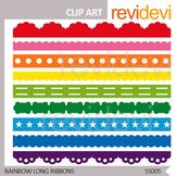 Rainbow Long Ribbons - digital clip art - commercial use - seller resource