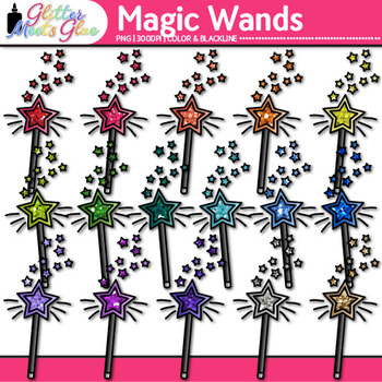 Rainbow Magic Wand Clip Art {Glitter Speaker Wands for Magicians & Princesses}