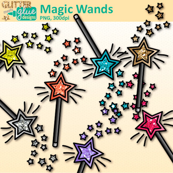 Rainbow Magic Wand Clip Art   Glitter Speaker Wands for Magicians & Princesses