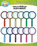 Rainbow Magnifying Glasses Clipart {Zip-A-Dee-Doo-Dah Designs}