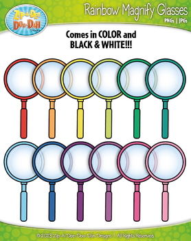 Rainbow Magnifying Glasses Clip Art Set — Includes 40 Graphics!