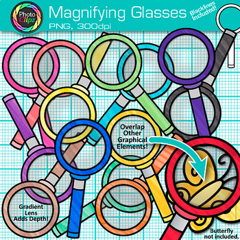 Rainbow Magnifying Glasses Clip Art {Science & Close Reading Graphics} 3
