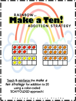 Rainbow Make a Ten Addition Strategy Center: First Grade Common Core Aligned