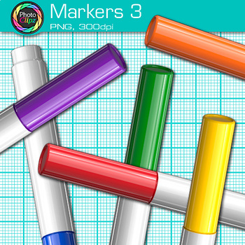 Rainbow Marker Clip Art {Back to School Supplies for Classroom Decor} 3