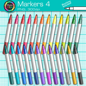 Rainbow Marker Clip Art {Back to School Supplies for Classroom Decor} 4
