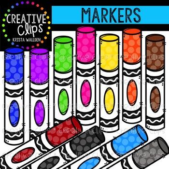 Rainbow Marker Clipart {Creative Clips Clipart}