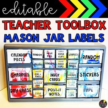 Rainbow Mason Jar Teacher Toolbox Labels
